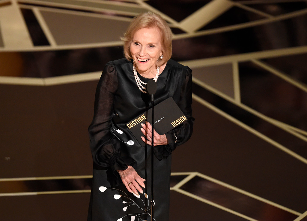 . Eva Marie Saint presents the award for best costume design at the Oscars on Sunday, March 4, 2018, at the Dolby Theatre in Los Angeles. (Photo by Chris Pizzello/Invision/AP)