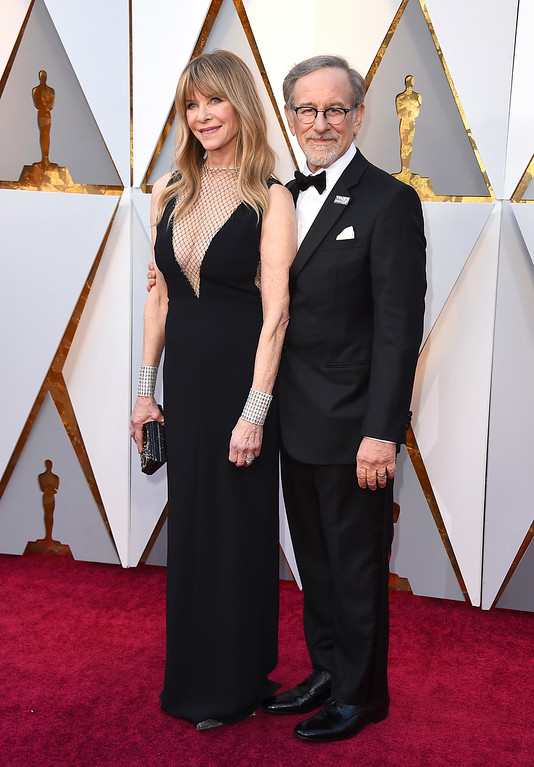 . Kate Capshaw, left, and Steven Spielberg arrive at the Oscars on Sunday, March 4, 2018, at the Dolby Theatre in Los Angeles. (Photo by Jordan Strauss/Invision/AP)