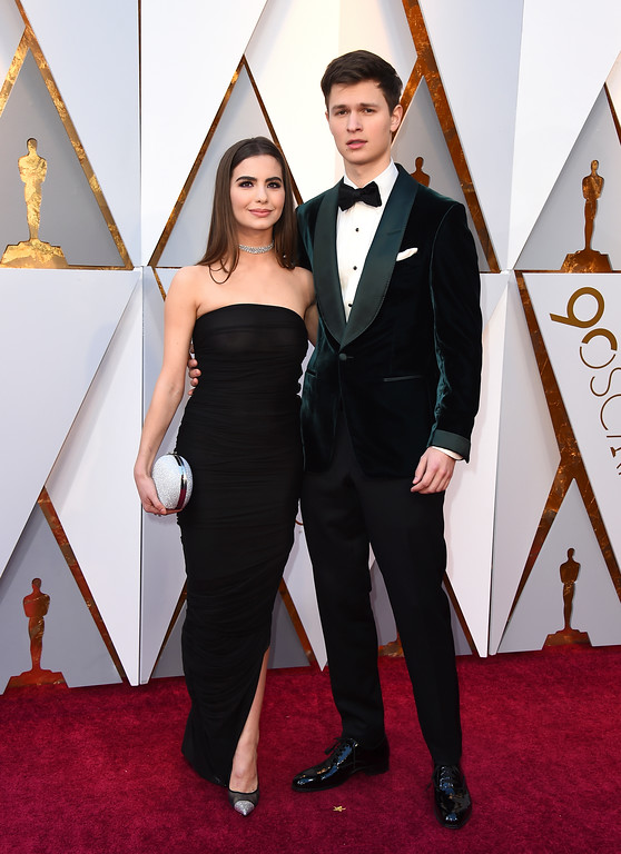 . Violetta Komyshan, left, and Ansel Elgort arrive at the Oscars on Sunday, March 4, 2018, at the Dolby Theatre in Los Angeles. (Photo by Jordan Strauss/Invision/AP)