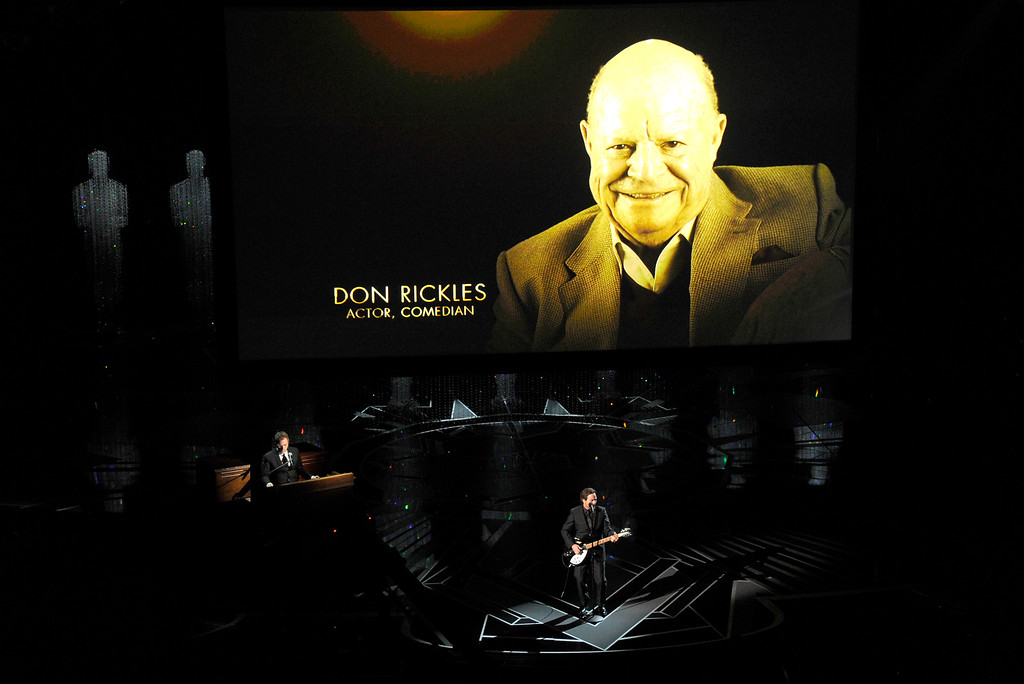 . Don Rickles appears on screen as Eddie Vedder performs during an In Memoriam tribute at the Oscars on Sunday, March 4, 2018, at the Dolby Theatre in Los Angeles. (Photo by Chris Pizzello/Invision/AP)