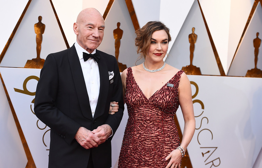 . Patrick Stewart, left, and Sunny Ozell arrives at the Oscars on Sunday, March 4, 2018, at the Dolby Theatre in Los Angeles. (Photo by Jordan Strauss/Invision/AP)