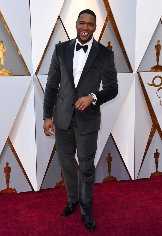 . Michael Strahan arrives at the Oscars on Sunday, March 4, 2018, at the Dolby Theatre in Los Angeles. (Photo by Jordan Strauss/Invision/AP)
