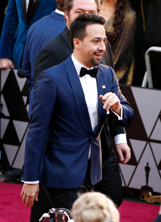 . Lin-Manuel Miranda arrives at the Oscars on Sunday, March 4, 2018, at the Dolby Theatre in Los Angeles. (Photo by Eric Jamison/Invision/AP)