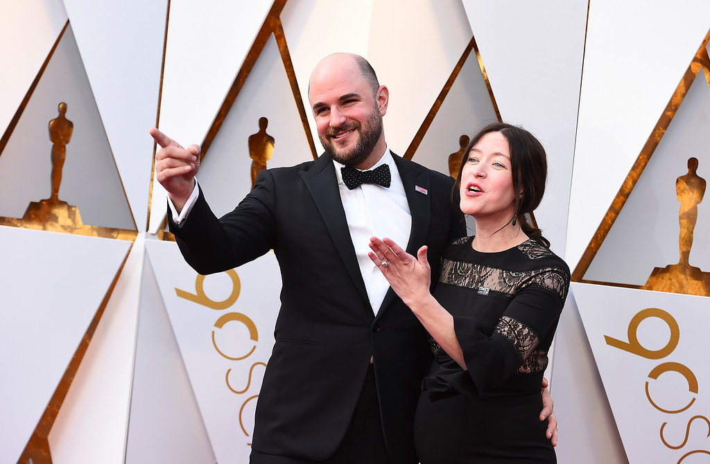 . Jordan Horowitz, left, and Julia Hart arrive at the Oscars on Sunday, March 4, 2018, at the Dolby Theatre in Los Angeles. (Photo by Jordan Strauss/Invision/AP)