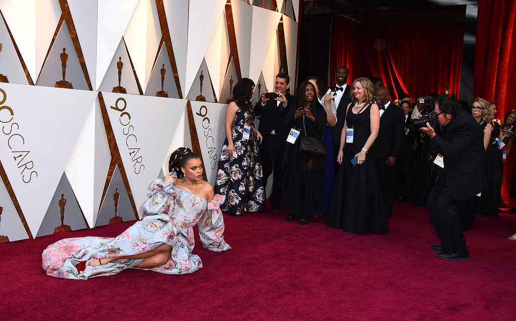 . Andra Day arrives at the Oscars on Sunday, March 4, 2018, at the Dolby Theatre in Los Angeles. (Photo by Jordan Strauss/Invision/AP)