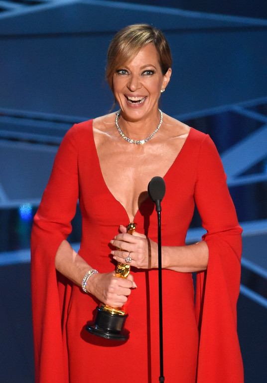 ". Allison Janney accepts the award for best performance by an actress in a supporting role for ""I, Tonya\"" at the Oscars on Sunday, March 4, 2018, at the Dolby Theatre in Los Angeles. (Photo by Chris Pizzello/Invision/AP)"