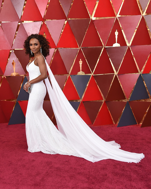. Janet Mock arrives at the Oscars on Sunday, March 4, 2018, at the Dolby Theatre in Los Angeles. (Photo by Richard Shotwell/Invision/AP)
