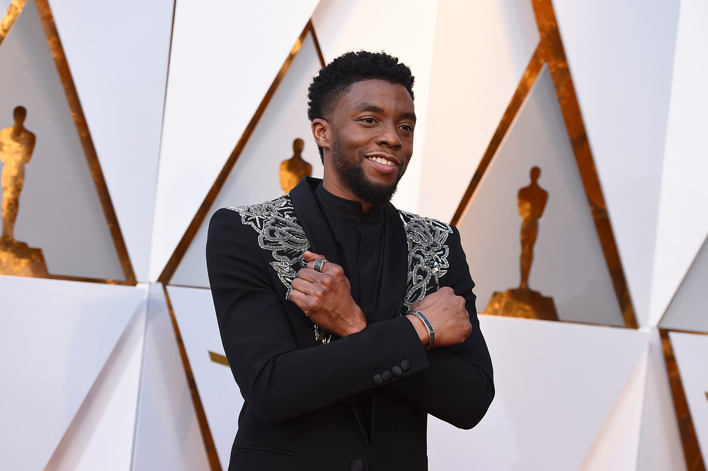 . Chadwick Boseman arrives at the Oscars on Sunday, March 4, 2018, at the Dolby Theatre in Los Angeles. (Photo by Jordan Strauss/Invision/AP)