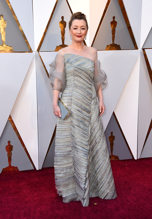 . Lesley Manville arrives at the Oscars on Sunday, March 4, 2018, at the Dolby Theatre in Los Angeles. (Photo by Jordan Strauss/Invision/AP)