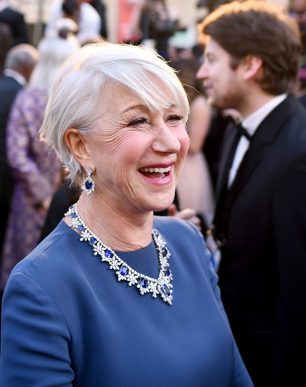 . Helen Mirren arrives at the Oscars on Sunday, March 4, 2018, at the Dolby Theatre in Los Angeles. (Photo by Charles Sykes/Invision/AP)