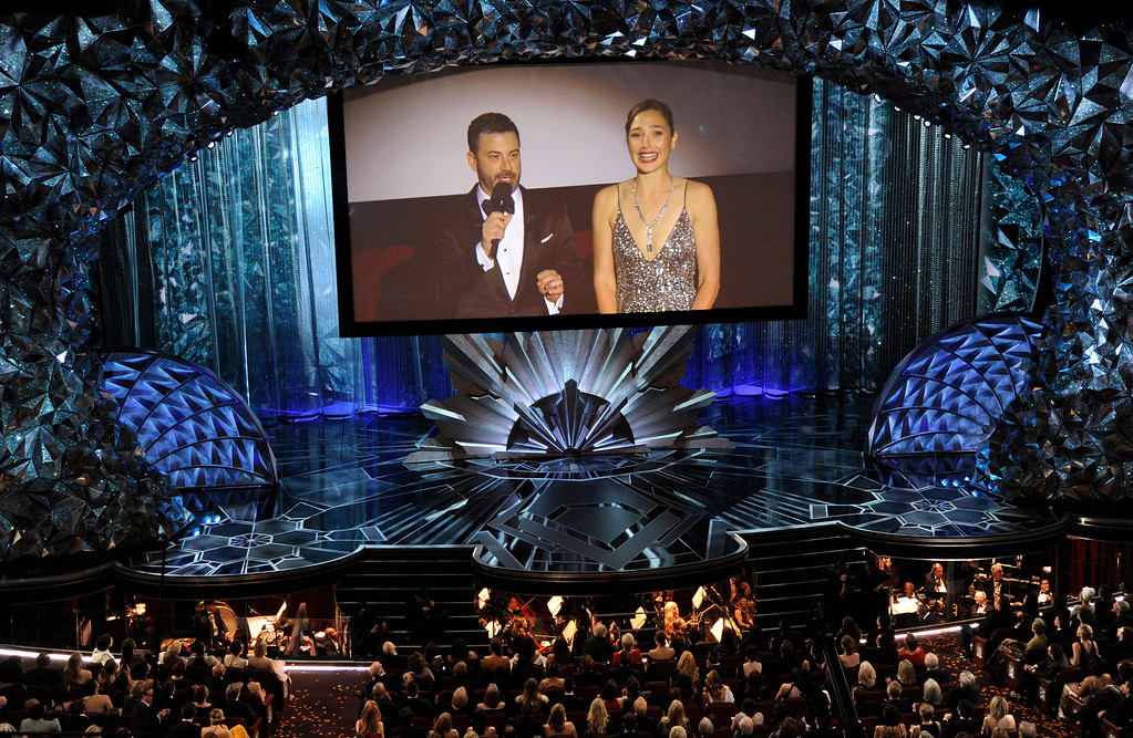 . Host Jimmy Kimmel, left, and Gal Gadot appear on screen via satellite at the Oscars on Sunday, March 4, 2018, at the Dolby Theatre in Los Angeles. (Photo by Chris Pizzello/Invision/AP)