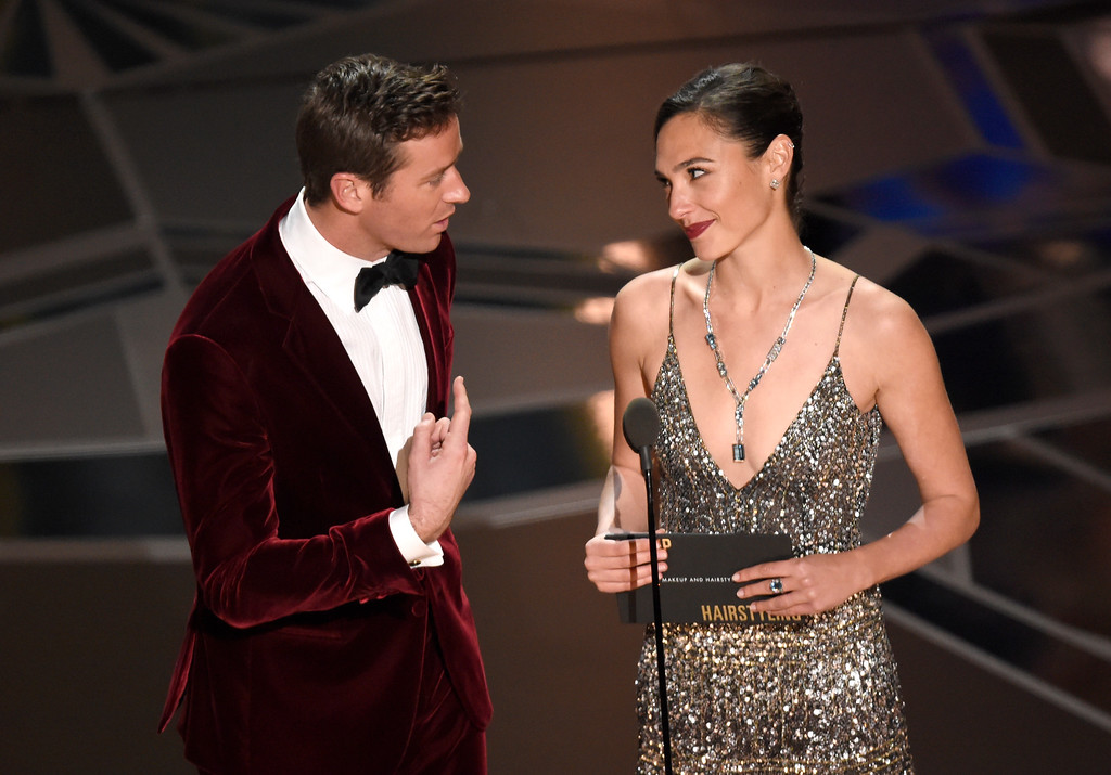 . Armie Hammer, left, and Gal Gadot present the award for best makeup and hairstyling at the Oscars on Sunday, March 4, 2018, at the Dolby Theatre in Los Angeles. (Photo by Chris Pizzello/Invision/AP)