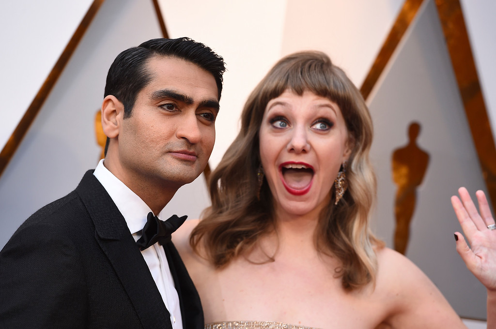 . Kumail Nanjiani, left, and Emily V. Gordon arrives at the Oscars on Sunday, March 4, 2018, at the Dolby Theatre in Los Angeles. (Photo by Jordan Strauss/Invision/AP)