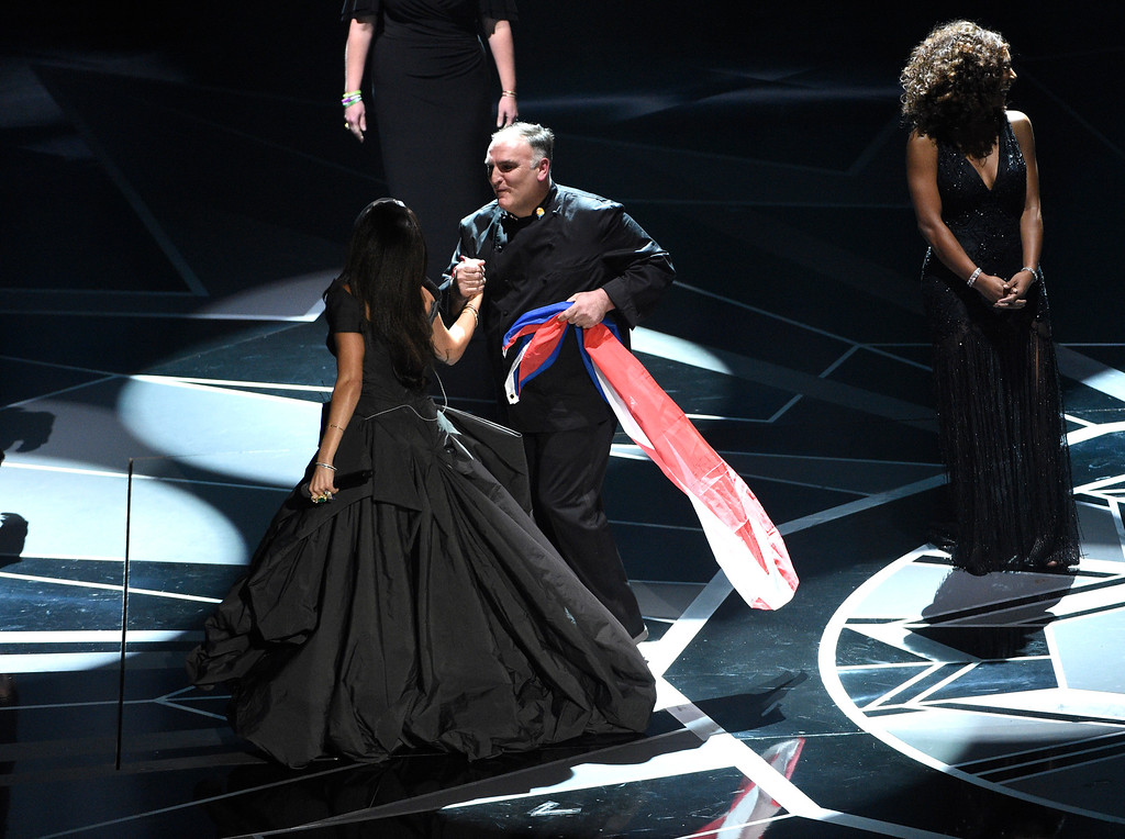 . Andra Day, left, and Chef Jose Andres appear on stage after a performance at the Oscars on Sunday, March 4, 2018, at the Dolby Theatre in Los Angeles. (Photo by Chris Pizzello/Invision/AP)