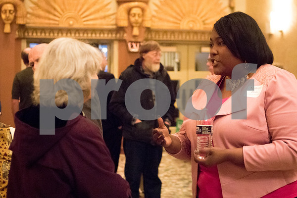 Sam Buckner for Shaw Media.<br /> District 428 candidate Shatoya Black talks to Marilyn Bazeli during the meet and greet on Thursday, March 9, 2017 at the Egyptian Theater in DeKalb.