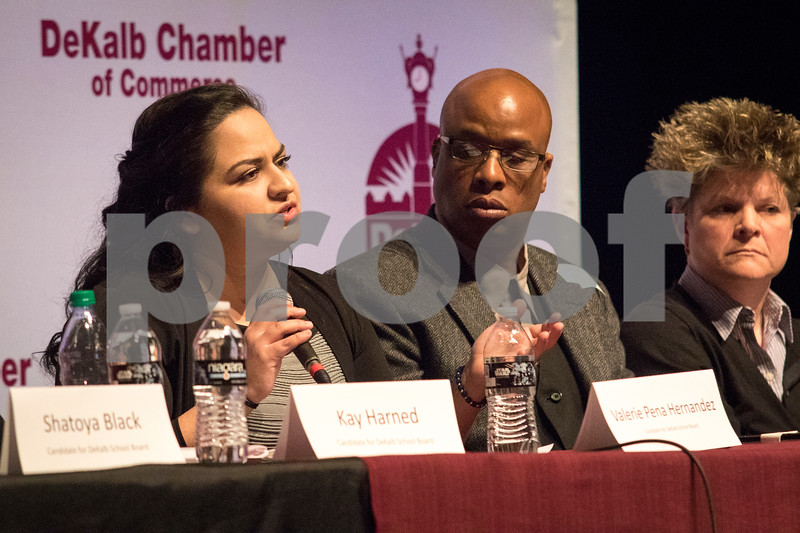 Sam Buckner for Shaw Media.<br /> Valerie Pena Hernandez answers a question during the community forum on Thursday, March 9, 2017 at the Egyptian Theatre in DeKalb.