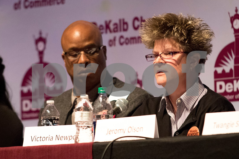 Sam Buckner for Shaw Media.<br /> D428 board of education candidate and current board president Victoria Newport gives her opening statement on Thursday, March 9, 2017 at the Egyptian Theatre in DeKalb.