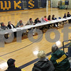 "Residents from Kirkland listen to speeches by the candidates for village offices at the ""Meet the Candidates"" night on Tuesday, March 14, 2017 at Hiawatha High School in Kirkland.  Deanna Frances for Shaw Media"