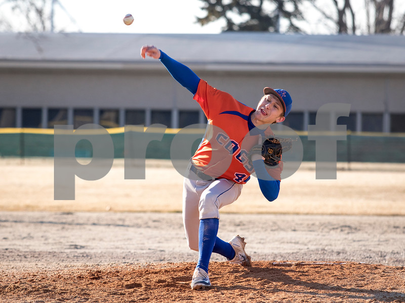 Sam Buckner for Shaw Media.<br /> Kyle Bangert throws a pitch at Indian Creek High School on Wednesday March 14, 2018.