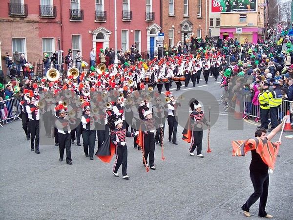 The DeKalb High School Marching Barbs round the corner of Parnell Square North in the St. Patrick's Day parade in Dublin Friday. Julie Spahn for Shaw Media