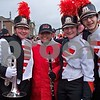 DHS graduate Andrea Ruiz (center) tears-up as she re-unites with former band mates Abby Diehl (left), Piper Siblik, and Richie Spahn. Ruiz was a drum major last year and marched with the Illinois State University band in Dublin.  Julie Spahn for Shaw Media