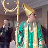 A man portraying St. Patrick enters the pre-St. Patrick's Day parade press conference with flair in Dublin on Friday, March 17, 2017.  Julie Spahn for Shaw Media