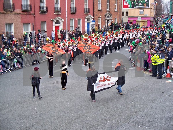 The DeKalb Marching Barbs round the corner on Parnell Square North in the St. Patrick's Day Parade in Dublin on Friday. Julie Spahn for Shaw Media