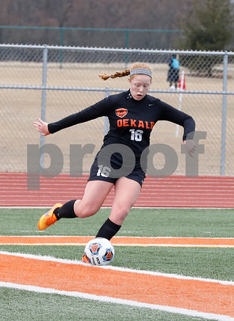 Izzi Myers-Miller sets to kick the ball Saturday, March 17, 2018 during their game against West Chicago.