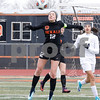 DeKalb's Hayley Brown heads the ball Saturday, March 17, 2018 during their game against West Chicago.<br /> <br /> Sarah Minor - For Shaw Media