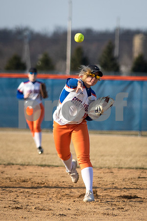 Sam Buckner for Shaw Media.<br /> Lexi Howie fields a ball and throws it to first base on Monday March 20, 2017 during a home game against Rock Falls.