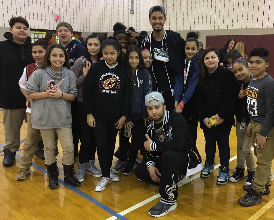 . Richard Payerchin - The Morning Journal <br> Scholars from Lorain City Schools\' General Johnnie Wilson Middle School pose for a photo with members of the Cleveland Cavaliers Scream Team on March 22, 2018. Cavs representatives visited the school to present a $1,000 check for the Cavs\' Straight �A� All-Stars program, presented by Westfield Insurance.