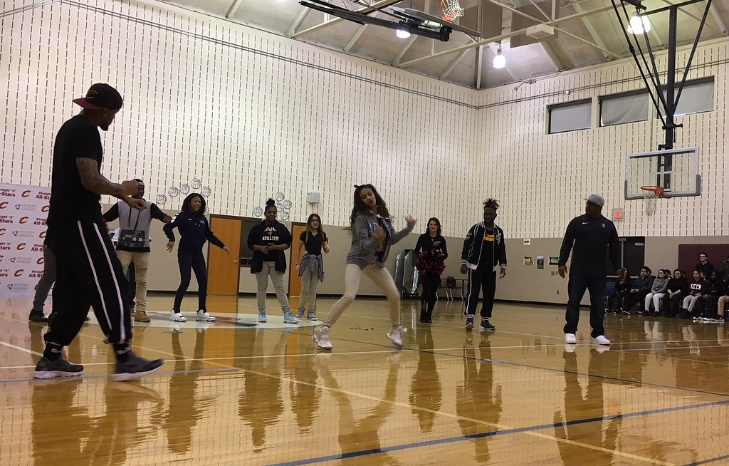 . Richard Payerchin - The Morning Journal <br> Lorain City Schools\' General Johnnie Wilson Middle School scholars participate in a dance contest with members of the Cleveland Cavaliers Scream Team on March 22, 2018. Cavs representatives visited the school to present the $1,000 check for the Cavs\' Straight �A� All-Stars program, presented by Westfield Insurance.