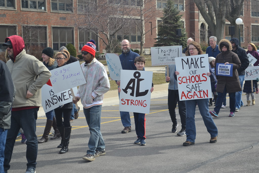 . Keith Reynolds � The Morning Journal <br> Hundreds of community members took to the streets on March 24, 2018 near Avon Lake High School, 175 Avon Belden Road, as part of the international March for our Lives.