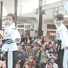 Kristi Garabrandt — The News-Herald <br> Angelina Quiggle, 10, and Anthony Tabone, 11, martial arts students at the Karate Institute in Mentor take part in a karate demonstration during the Kidshow at Great Lakes Mall on March 24, 2018.