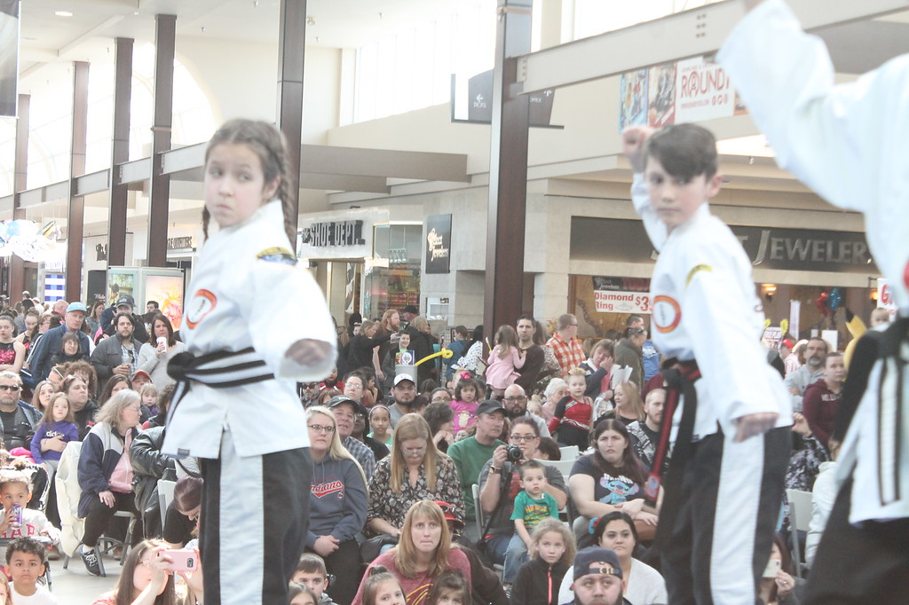 . Kristi Garabrandt � The News-Herald <br> Angelina Quiggle, 10, and Anthony Tabone, 11, martial arts students at the Karate Institute in Mentor take part in a karate demonstration during the Kidshow at Great Lakes Mall on March 24, 2018.