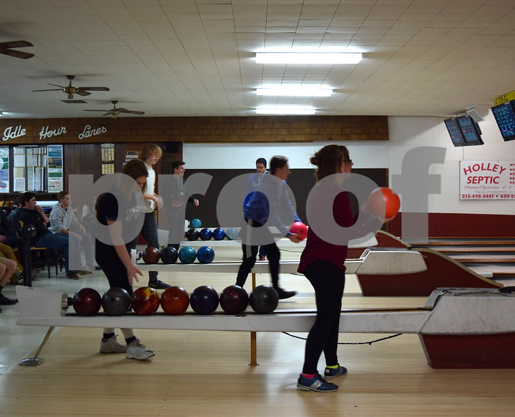 Sandwich High School students bowl March 14 at Pinheadz at Idle Hour Lanes. Ron and Bonnie Miller, owners of Idle Hour Lanes for 41 years, sold the bowling alley to the Partridge family last month.