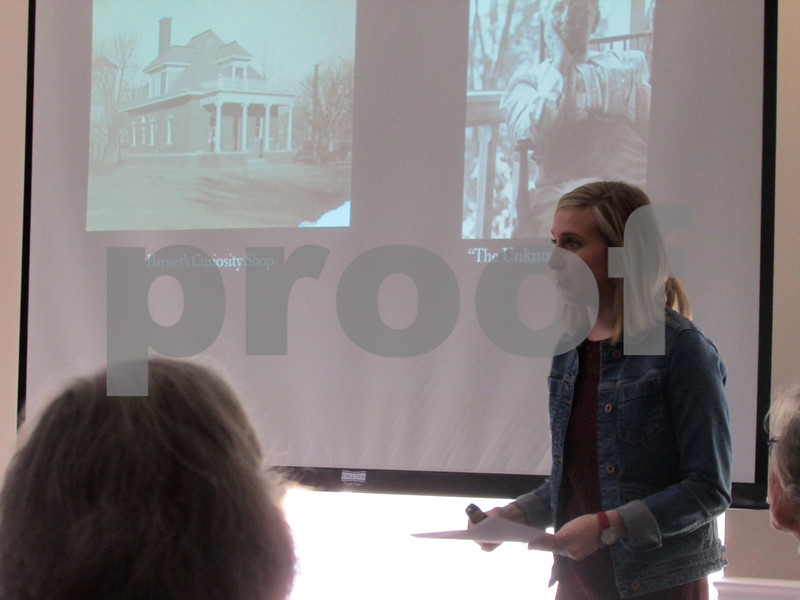"Tricia Runzel, curator of education and interpretation at Ellwood House Museum, gave a presentation Friday about Harriet Ellwood, the wife of ""Barbed Wire Baron"" Isaac Ellwood, as part of the museum's annual Local Lore lecture series."
