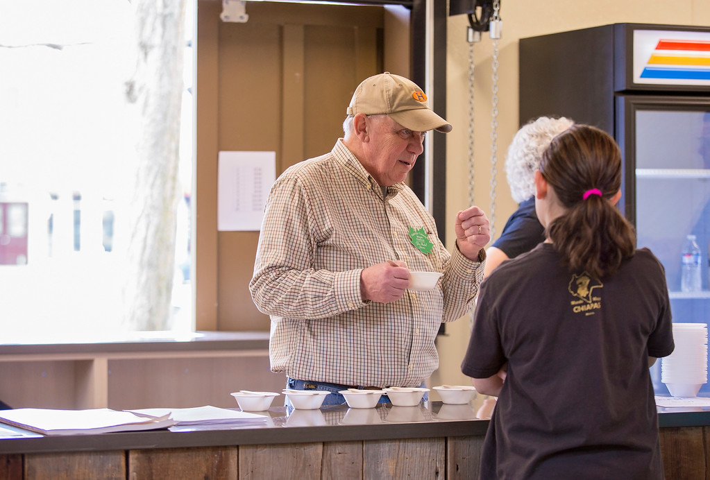 . Carrie Garland � The News-Herald <br> Stir Booth Director Glen Haskell explains how maple stirs are made on March 25, 2017 at the Heritage House in Chardon.