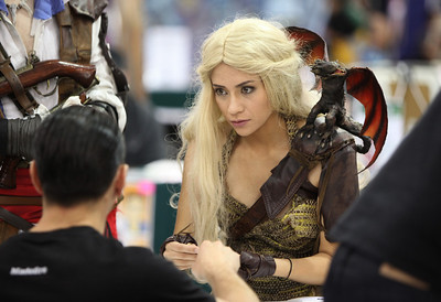 Sam Skyler of Elk Grove brought her Mother of Dragons get-up to the Big Wow Comic Festival came at the San Jose Convention Center in San Jose, Calif., on Sunday, May 18, 2014. (Karl Mondon/Bay Area News Group)