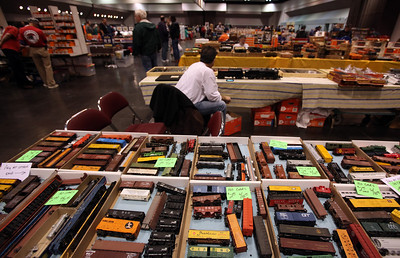 Boxes of toy trains covered numerous tables at the Toy & Model Train Expo at the Santa Clara Convention Center, Saturday morning, March 1, 2014, in Santa Clara, Calif. (Karl Mondon/Bay Area News Group)