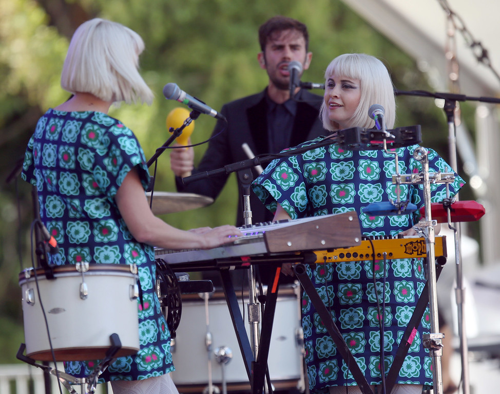 . Holly Laessig, left, and Jess Wolfe, of Lucius, perform on the Sutro stage during day three of the Outside Lands music festival at Golden Gate Park in San Francisco, Calif., on Sunday, Aug. 10, 2014. (Jane Tyska/Bay Area News Group)