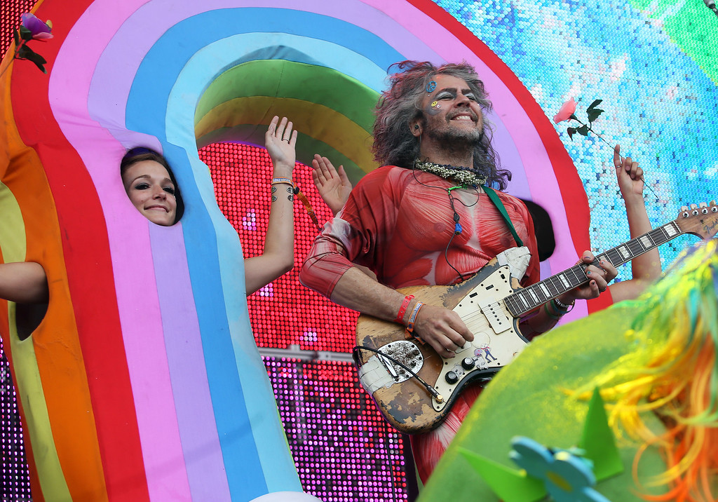 . The Flaming Lips lead singer Wayne Coyne performs on the Land\'s End stage during day three of the Outside Lands music festival at Golden Gate Park in San Francisco, Calif., on Sunday, Aug. 10, 2014. (Jane Tyska/Bay Area News Group)
