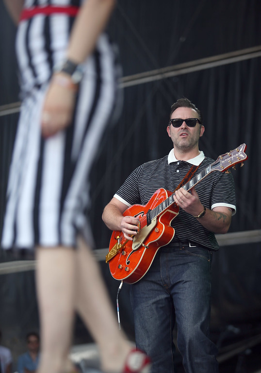 . Guitarist Darrel Higham performs with his wife Imelda May on the Land\'s End stage during the last day of the Outside Lands music festival at Golden Gate Park in San Francisco, Calif., on Sunday, Aug. 10, 2014. (Jane Tyska/Bay Area News Group)