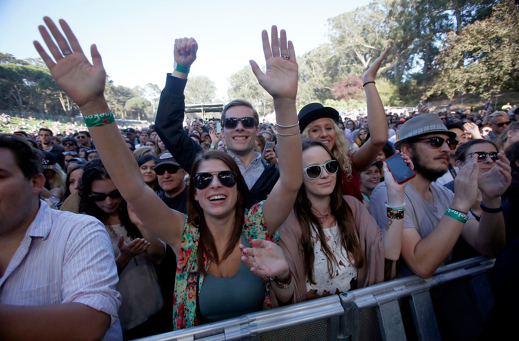. Festivalgoers listen to Nicki Bluhm & The Gramblers perform on the Sutro Stage during day one of the Outside Lands music festival at Golden Gate Park in San Francisco, Calif., on Friday, Aug. 8, 2014. (Jane Tyska/Bay Area News Group)