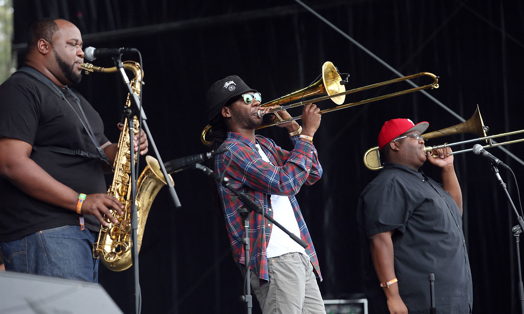 . The Soul Rebels Erion Williams, Corey Peyton and Paul Robertson, left to right, perform on the Land\'s End stage during day one of the Outside Lands music festival at Golden Gate Park in San Francisco, Calif., on Friday, Aug. 8, 2014. (Jane Tyska/Bay Area News Group)