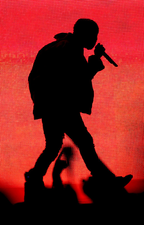 . Rapper Kanye West performs on the Land\'s End stage during day one of the Outside Lands music festival at Golden Gate Park in San Francisco, Calif., on Friday, Aug. 8, 2014. West was the headliner among the many bands who performed on Friday. The festival runs through Sunday, Aug. 10. (Jane Tyska/Bay Area News Group)