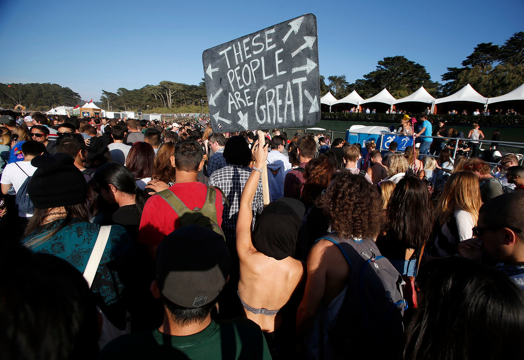 . Crowds gather at the Land\'s End stage during day one of the Outside Lands music festival at Golden Gate Park in San Francisco, Calif., on Friday, Aug. 8, 2014. (Jane Tyska/Bay Area News Group)