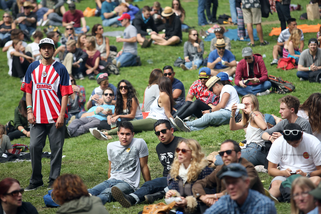 . Crowds gather at the Sutro Stage during day one of the Outside Lands music festival at Golden Gate Park in San Francisco, Calif., on Friday, Aug. 8, 2014. (Jane Tyska/Bay Area News Group)