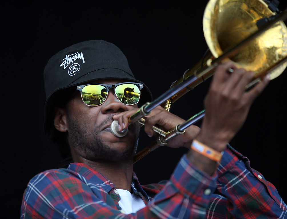 . Soul Rebels trombonist Corey Peyton performs on the Land\'s End stage during day one of the Outside Lands music festival at Golden Gate Park in San Francisco, Calif., on Friday, Aug. 8, 2014. (Jane Tyska/Bay Area News Group)