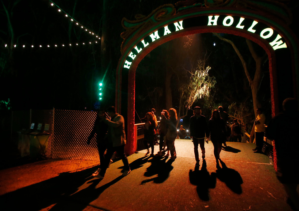 . People leave Hellman Hollow during day one of the Outside Lands music festival at Golden Gate Park in San Francisco, Calif., on Friday, Aug. 8, 2014. (Jane Tyska/Bay Area News Group)
